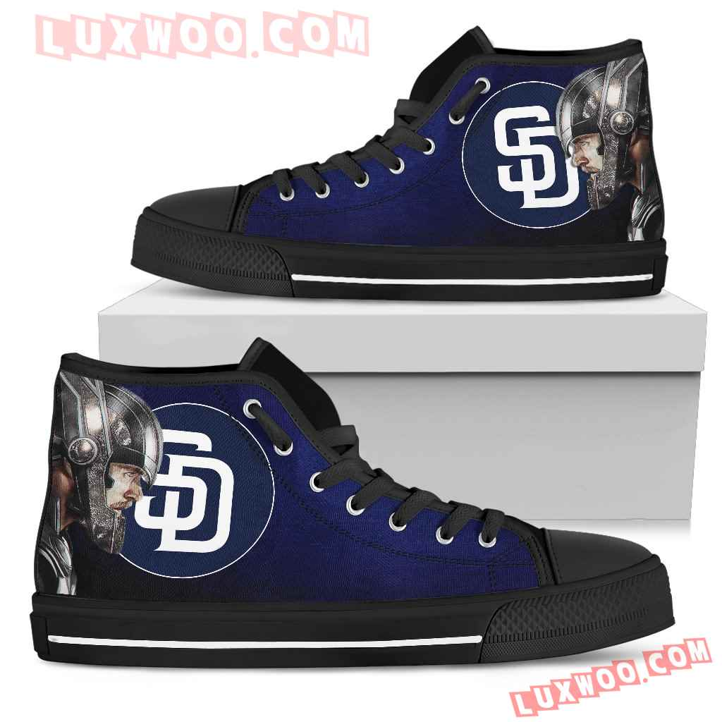 Thor Head Beside San Diego Padres High Top Shoes