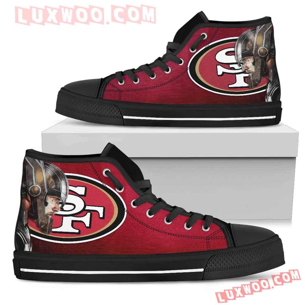 Thor Head Beside San Francisco 49ers High Top Shoes