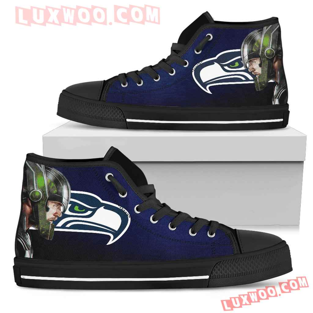 Thor Head Beside Seattle Seahawks High Top Shoes