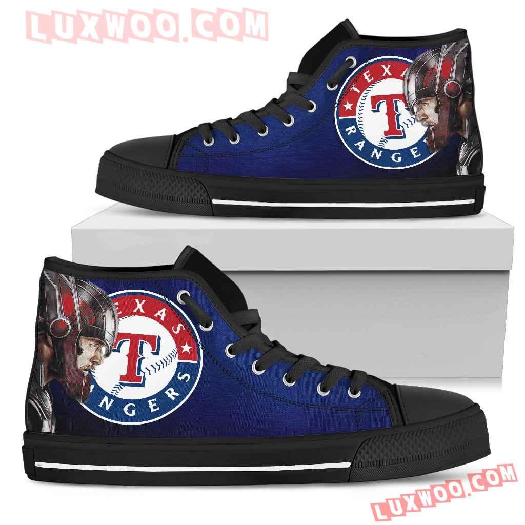 Thor Head Beside Texas Rangers High Top Shoes
