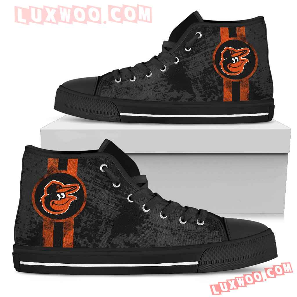 Triple Stripe Bar Dynamic Baltimore Orioles High Top Shoes