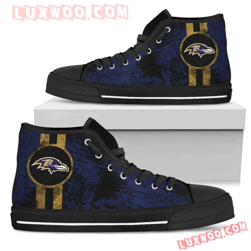 Triple Stripe Bar Dynamic Baltimore Ravens High Top Shoes V1