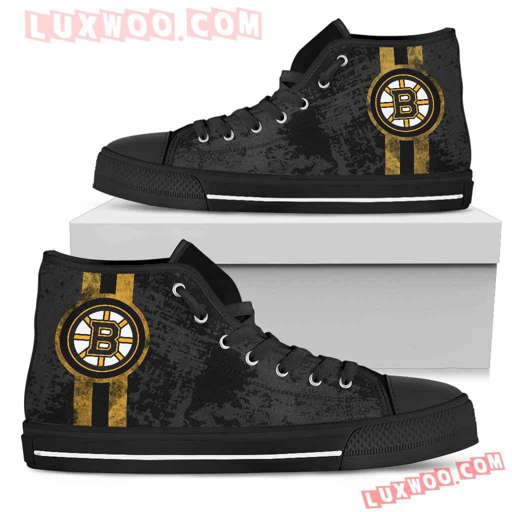Triple Stripe Bar Dynamic Boston Bruins High Top Shoes V1