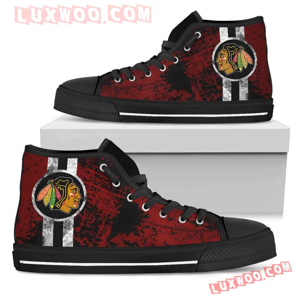 Triple Stripe Bar Dynamic Chicago Blackhawks High Top Shoes V1