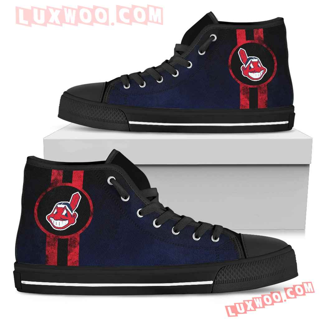 Triple Stripe Bar Dynamic Cleveland Indians High Top Shoes V2