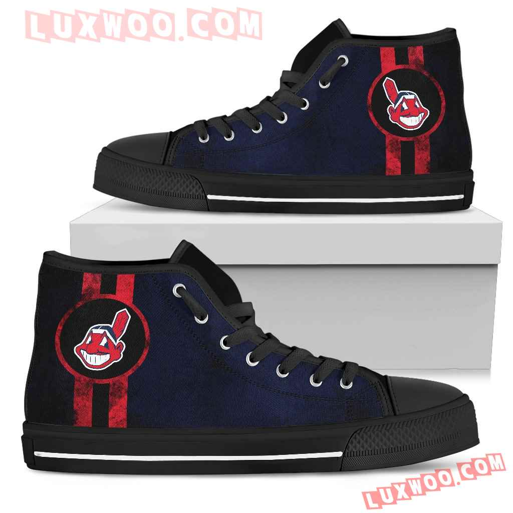 Triple Stripe Bar Dynamic Cleveland Indians High Top Shoes V3