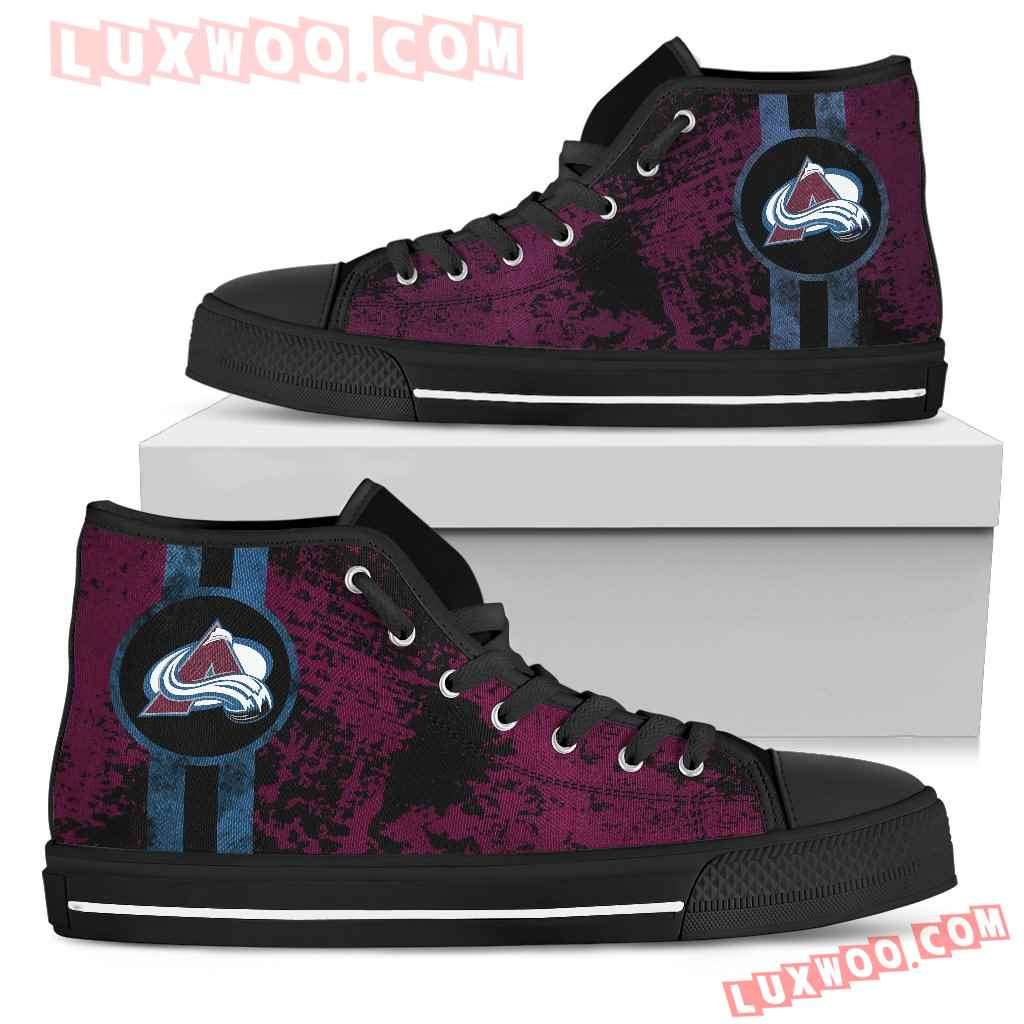 Triple Stripe Bar Dynamic Colorado Avalanche High Top Shoes V1