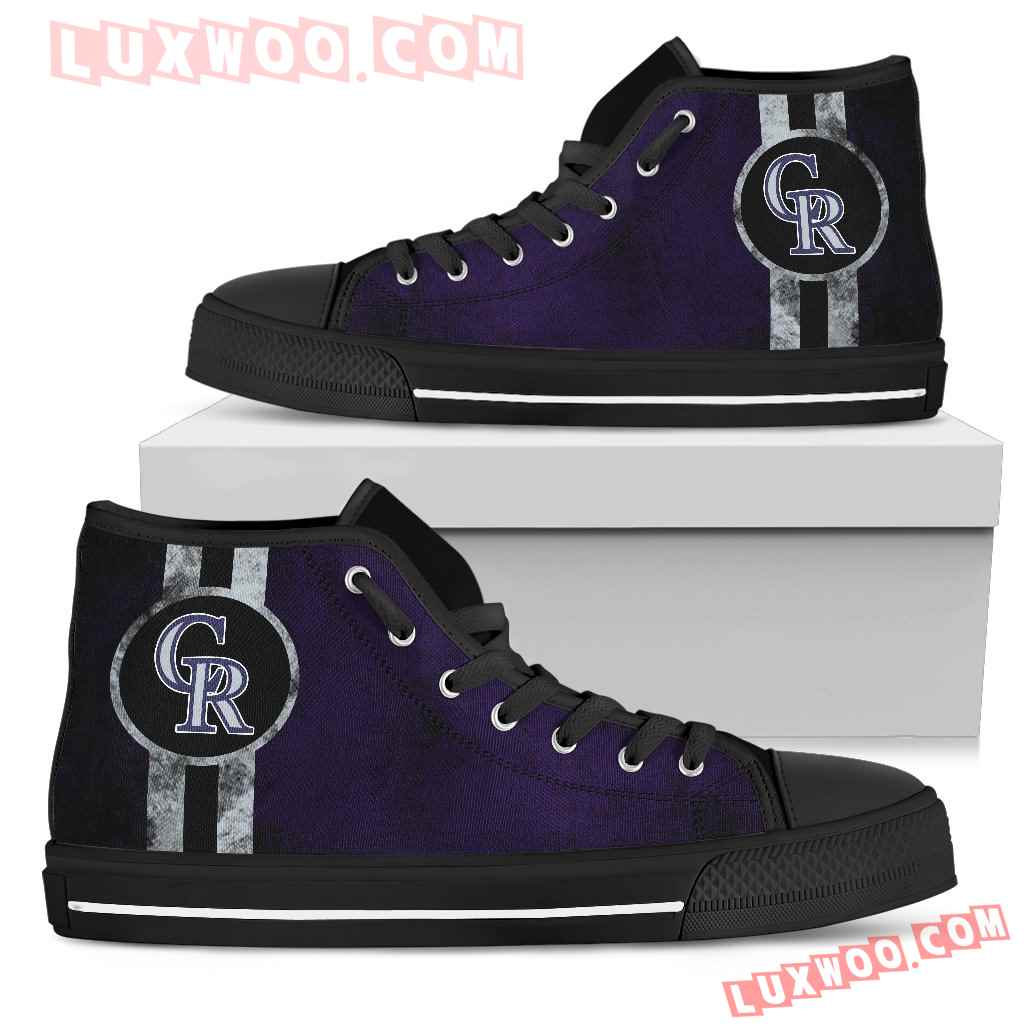 Triple Stripe Bar Dynamic Colorado Rockies High Top Shoes V3
