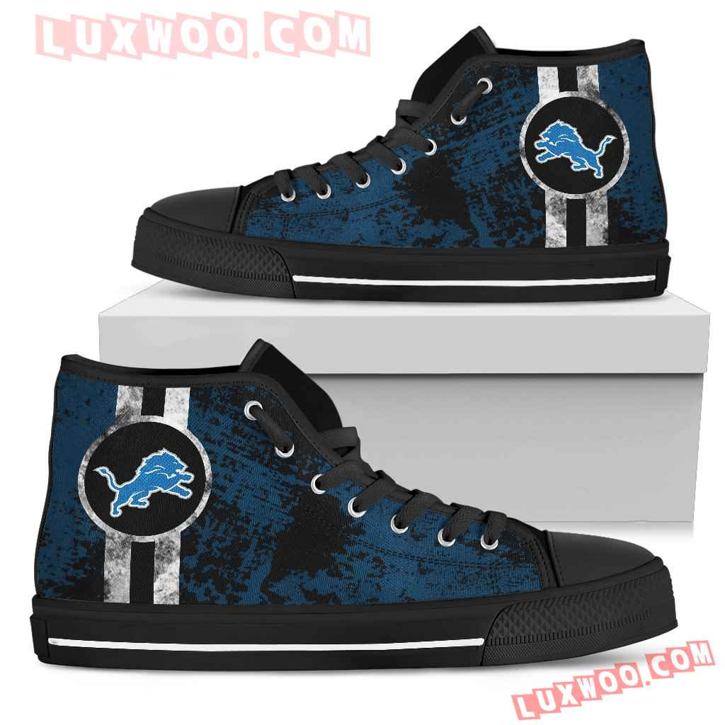 Triple Stripe Bar Dynamic Detroit Lions High Top Shoes V1