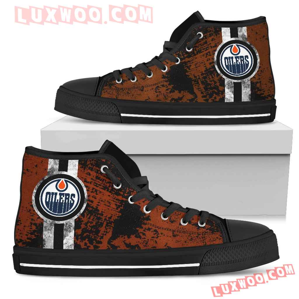 Triple Stripe Bar Dynamic Edmonton Oilers High Top Shoes V1