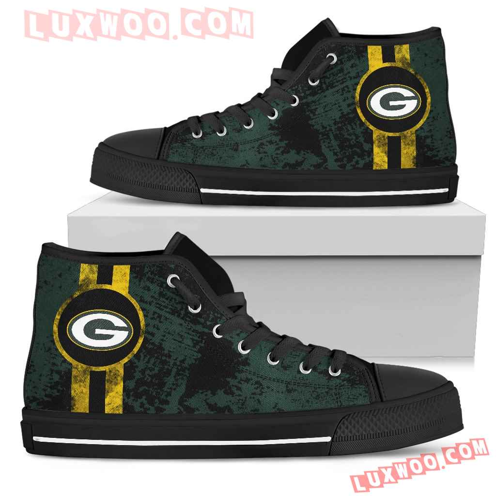 Triple Stripe Bar Dynamic Green Bay Packers High Top Shoes V1
