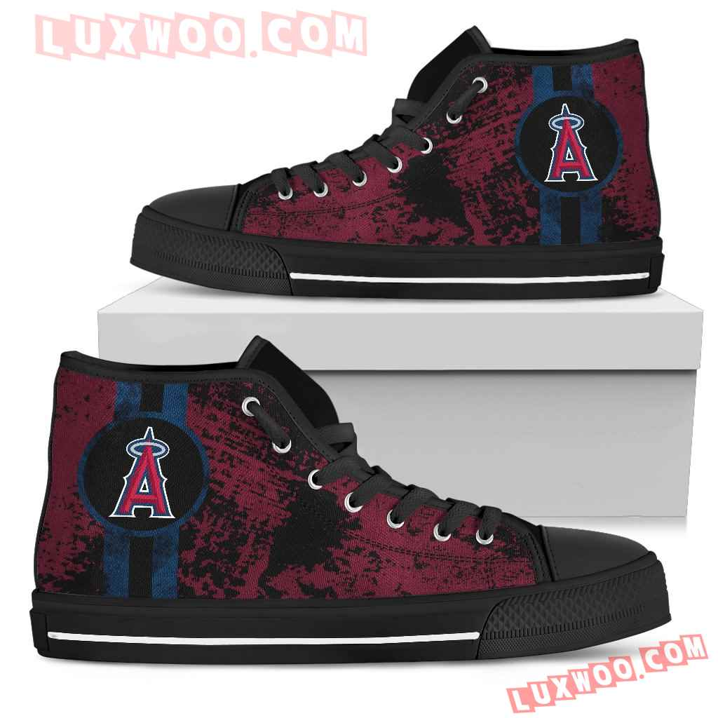 Triple Stripe Bar Dynamic Los Angeles Angels High Top Shoes