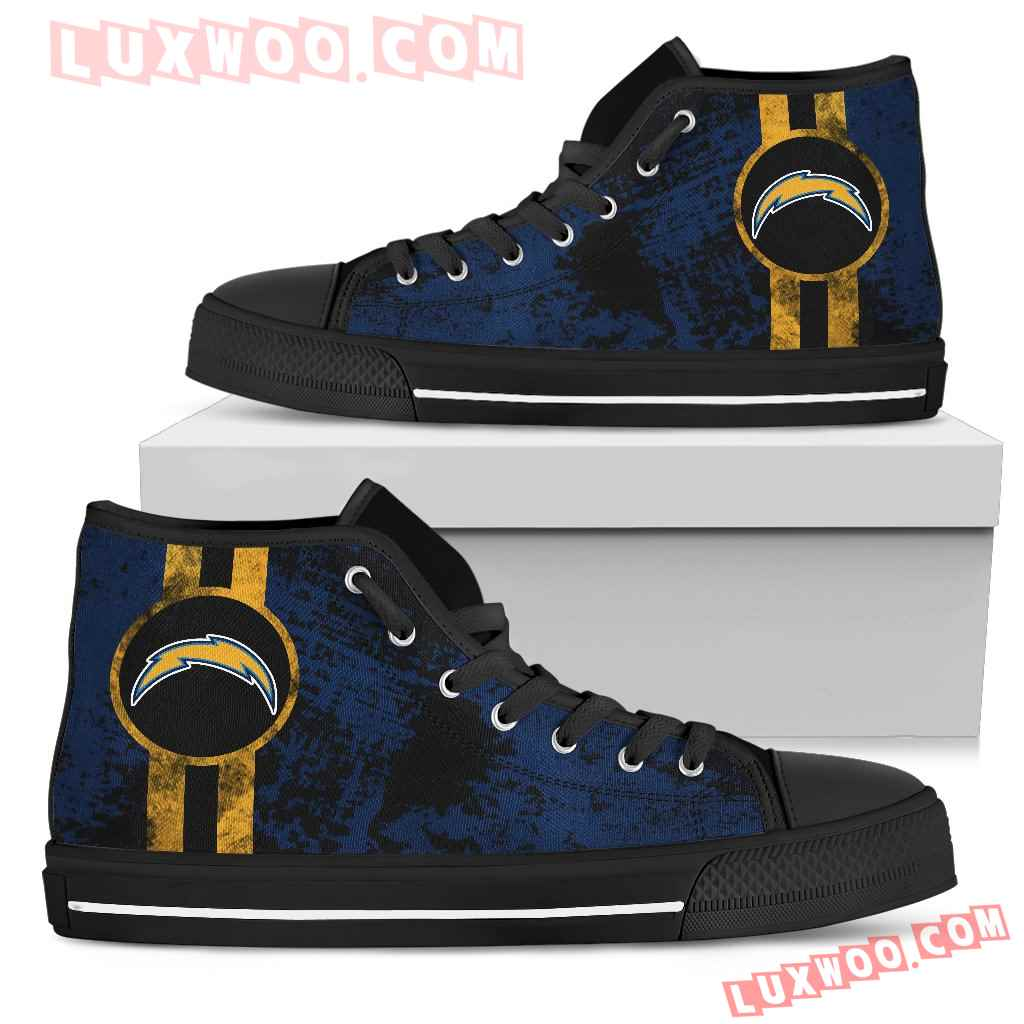 Triple Stripe Bar Dynamic Los Angeles Chargers High Top Shoes V1
