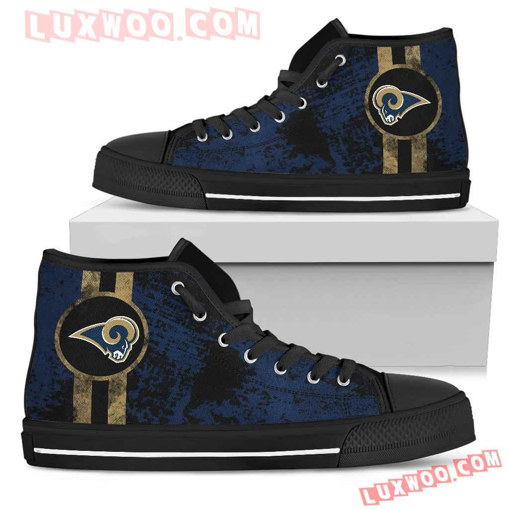 Triple Stripe Bar Dynamic Los Angeles Rams High Top Shoes V1