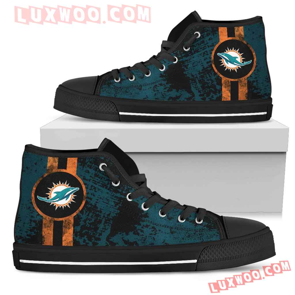 Triple Stripe Bar Dynamic Miami Dolphins High Top Shoes V1