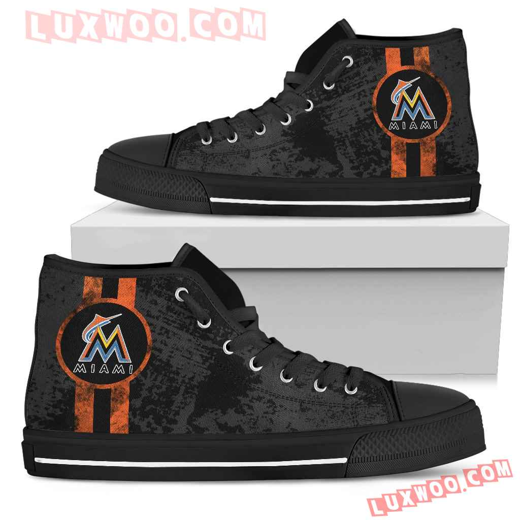 Triple Stripe Bar Dynamic Miami Marlins High Top Shoes