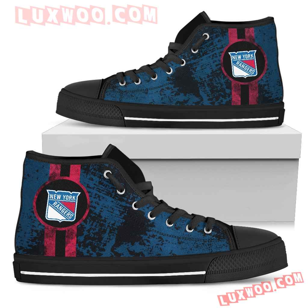 Triple Stripe Bar Dynamic New York Rangers High Top Shoes V1