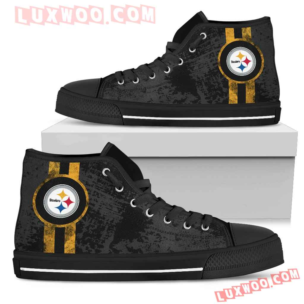 Triple Stripe Bar Dynamic Pittsburgh Steelers High Top Shoes V1