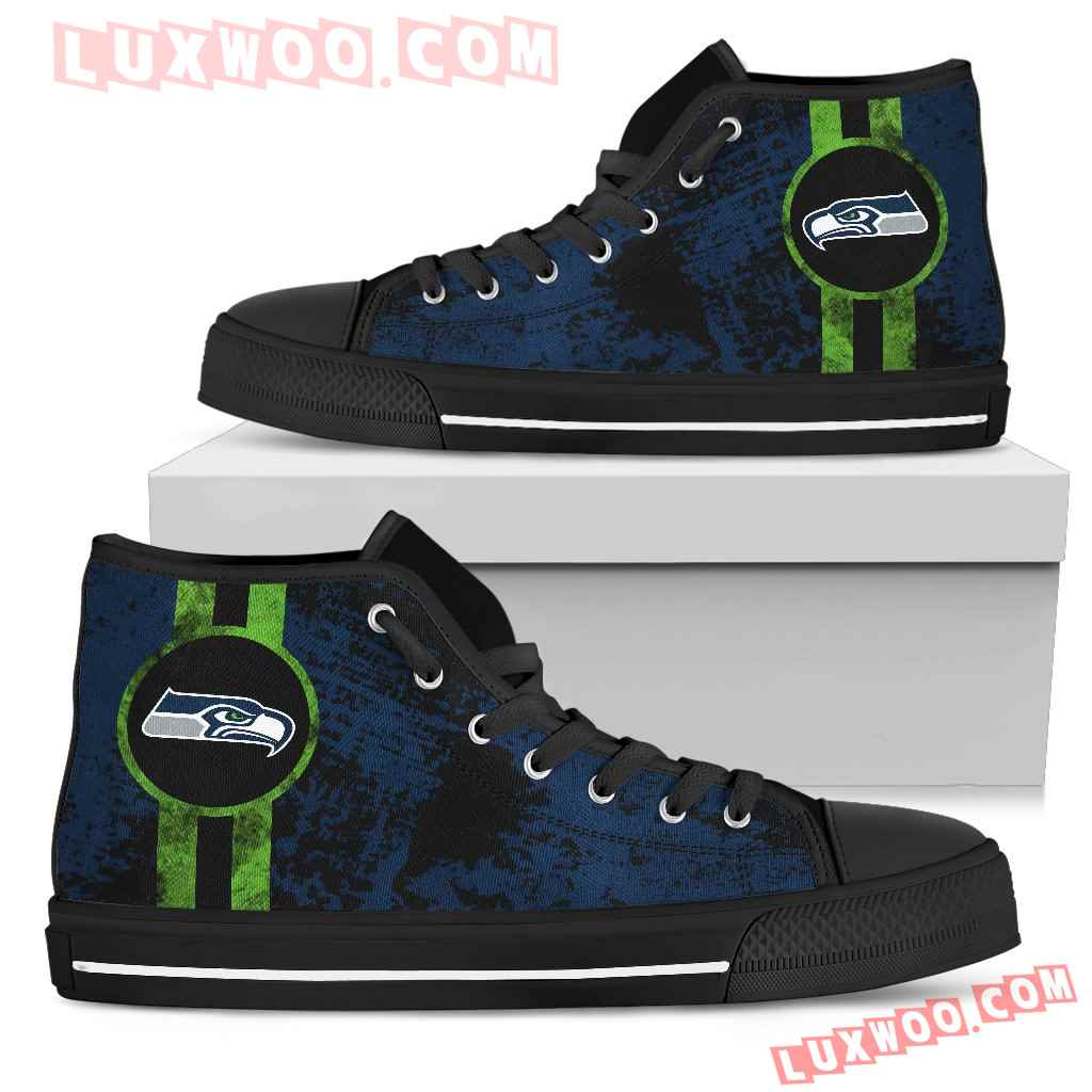 Triple Stripe Bar Dynamic Seattle Seahawks High Top Shoes V1