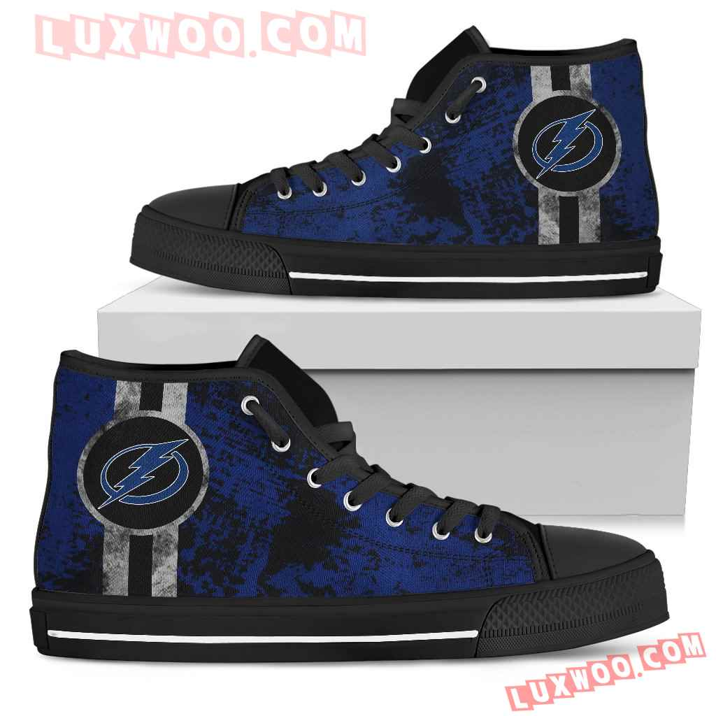Triple Stripe Bar Dynamic Tampa Bay Lightning High Top Shoes V1