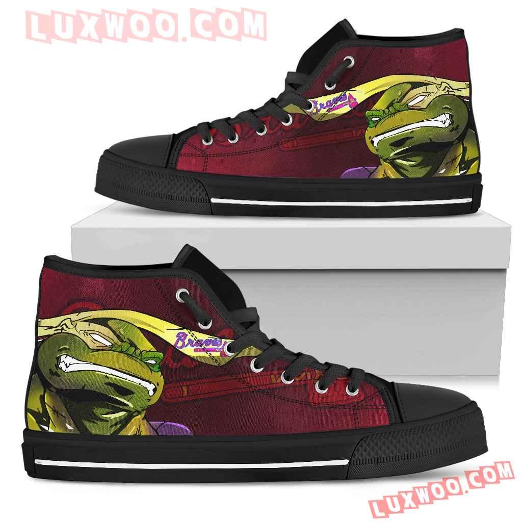 Turtle Atlanta Braves Ninja High Top Shoes