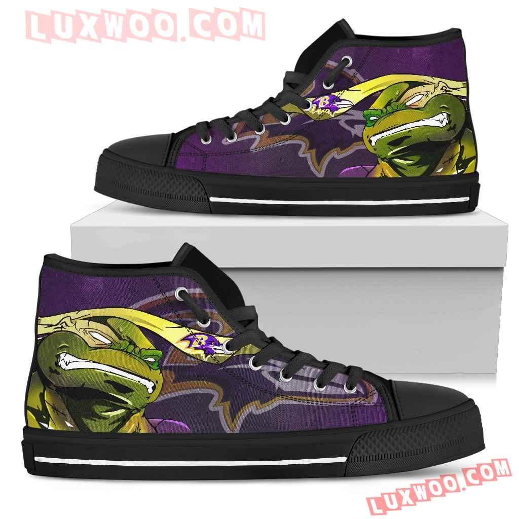 Turtle Baltimore Ravens Ninja High Top Shoes