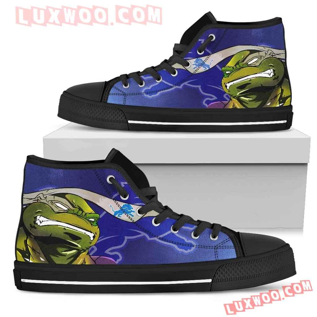 Turtle Detroit Lions Ninja High Top Shoes