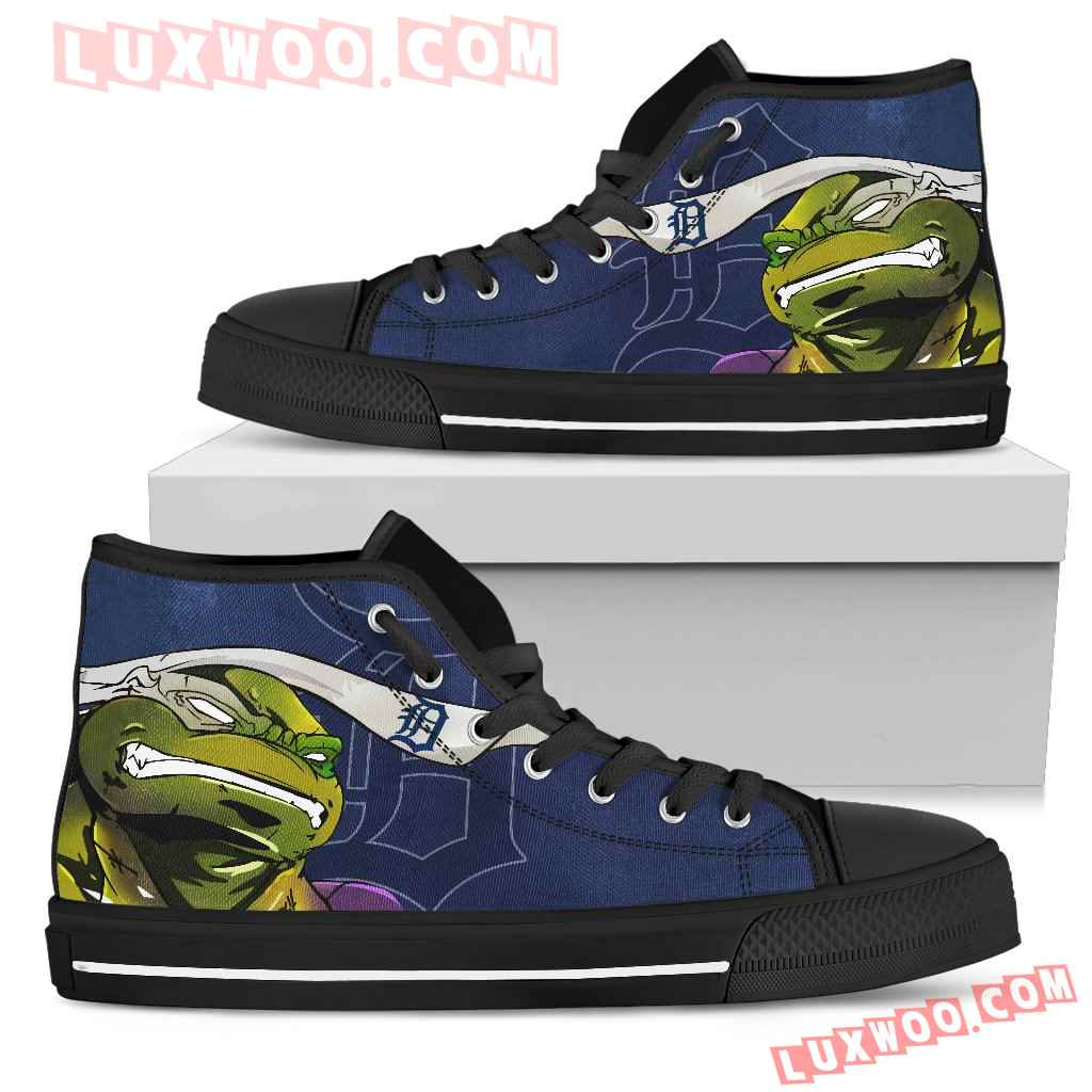 Turtle Detroit Tigers Ninja High Top Shoes