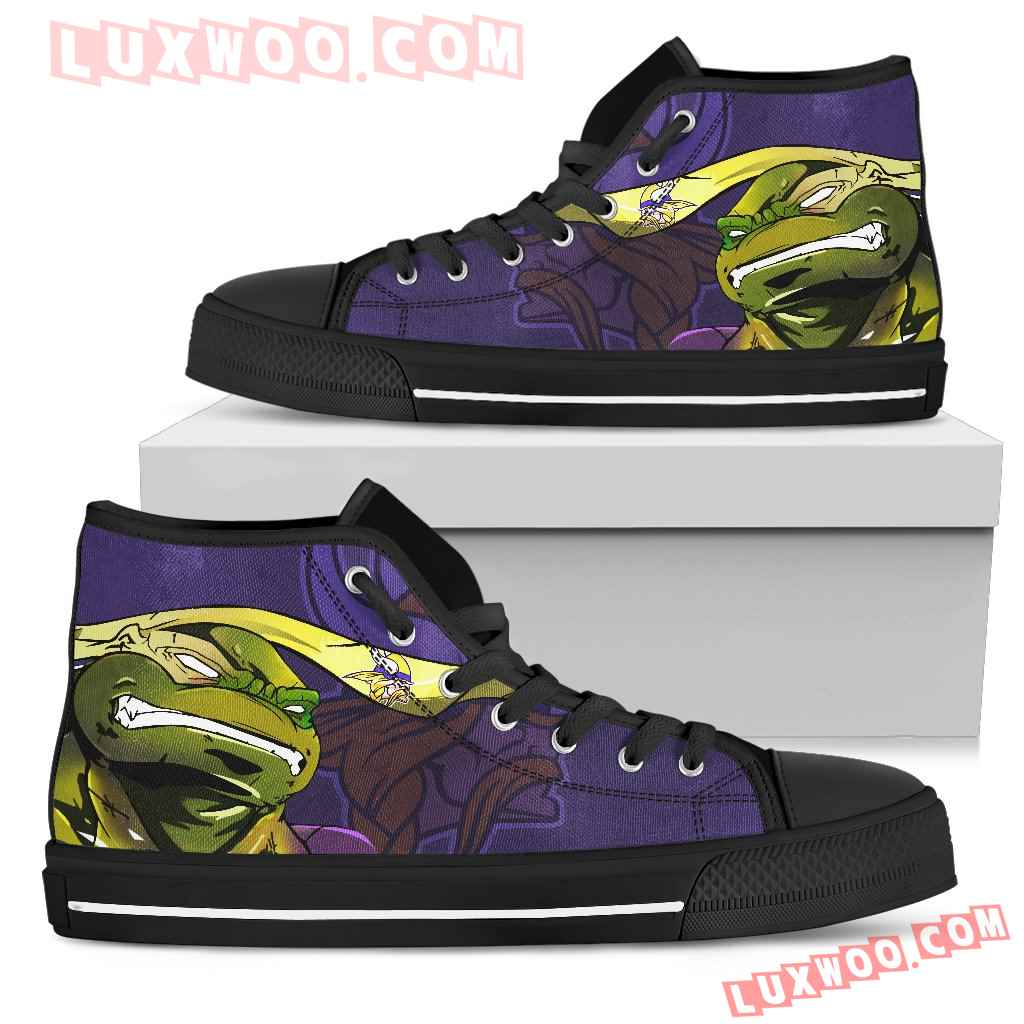 Turtle Minnesota Vikings Ninja High Top Shoes