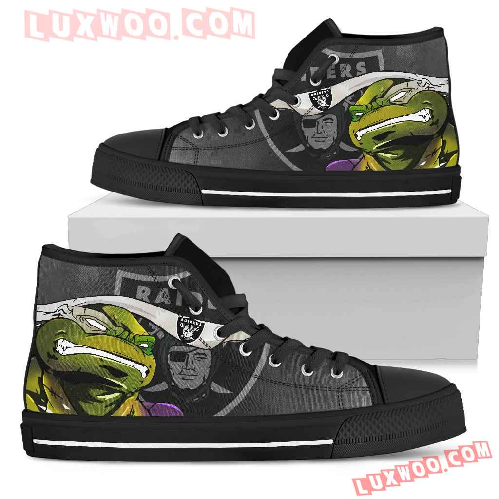 Turtle Oakland Raiders Ninja High Top Shoes