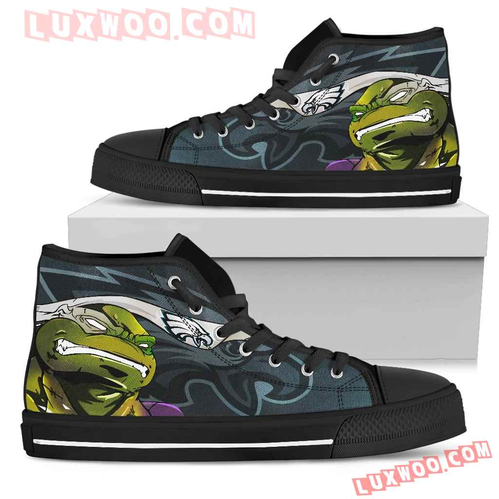 Turtle Philadelphia Eagles Ninja High Top Shoes