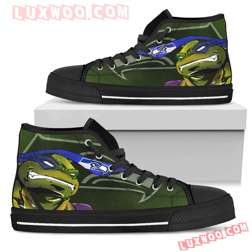 Turtle Seattle Seahawks Ninja High Top Shoes
