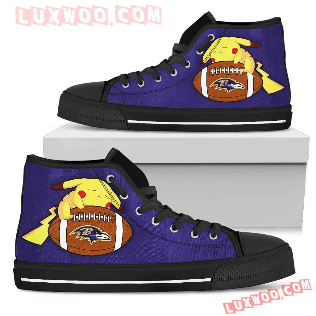 Unique Pikachu Laying On Ball Baltimore Ravens High Top Shoes
