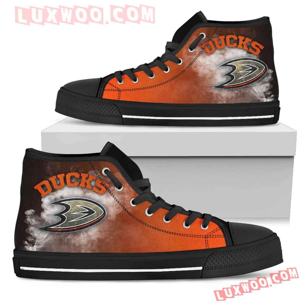 White Smoke Vintage Anaheim Ducks High Top Shoes