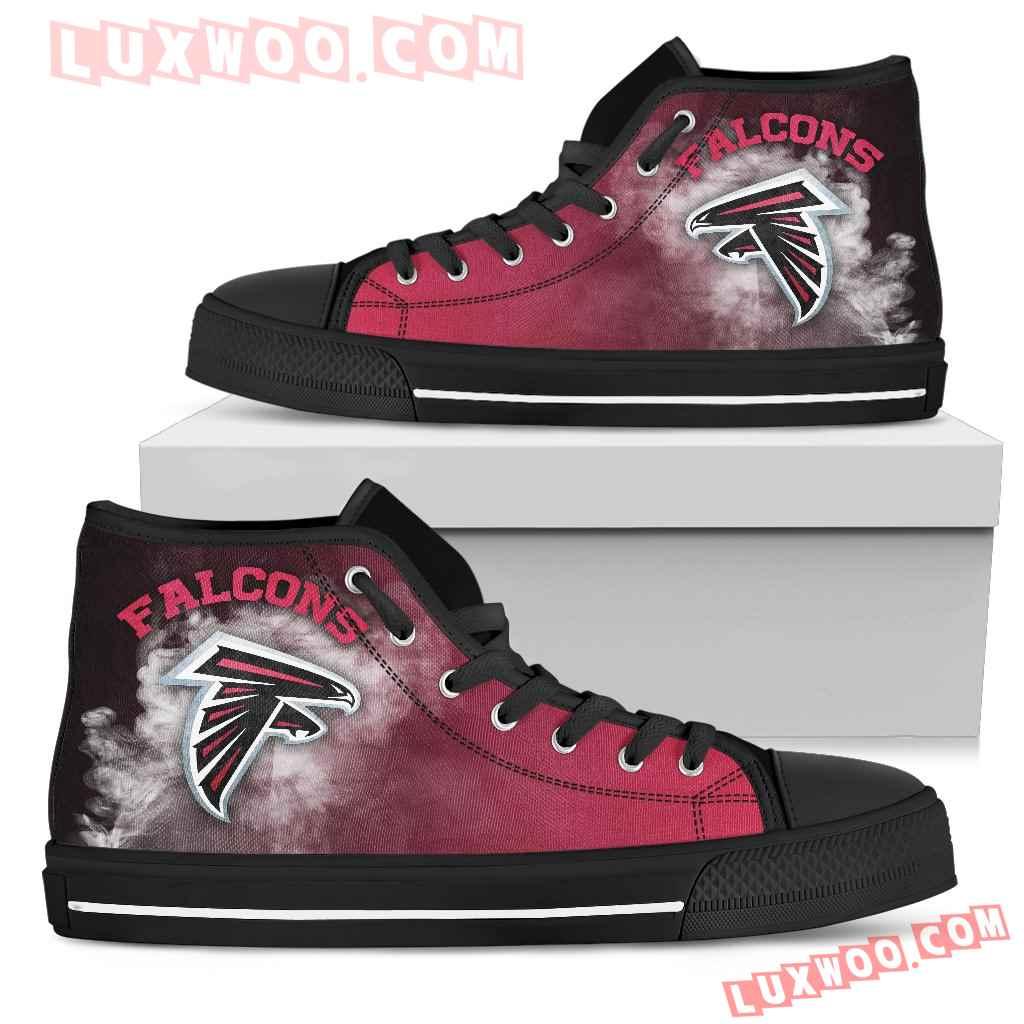 White Smoke Vintage Atlanta Falcons High Top Shoes