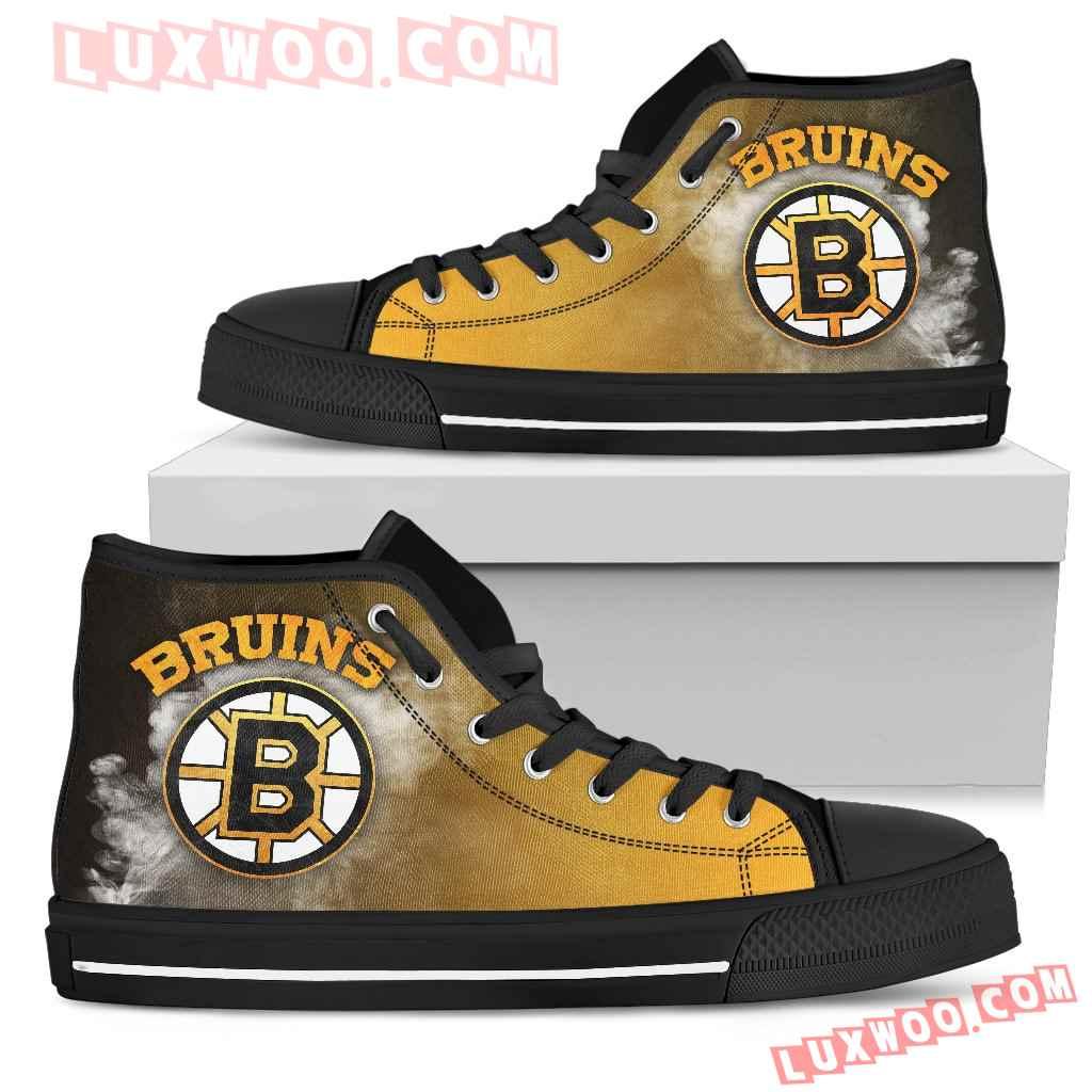 White Smoke Vintage Boston Bruins High Top Shoes