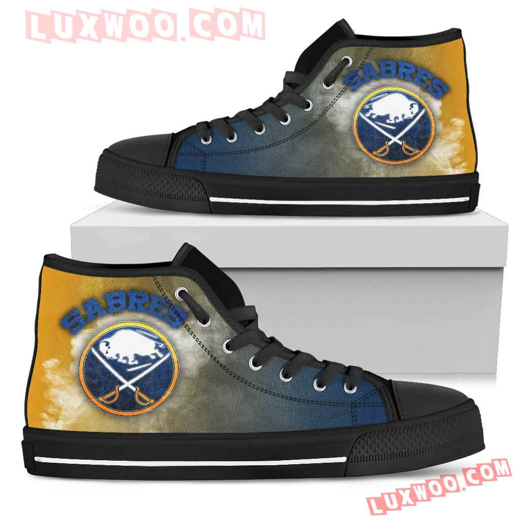 White Smoke Vintage Buffalo Sabres High Top Shoes