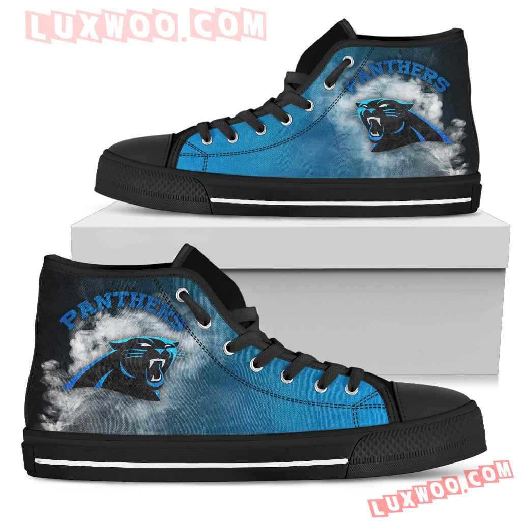 White Smoke Vintage Carolina Panthers High Top Shoes