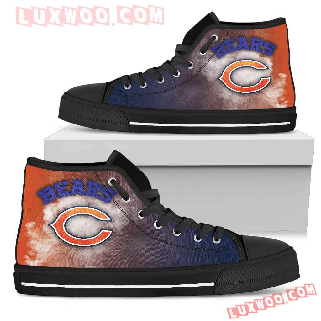 White Smoke Vintage Chicago Bears High Top Shoes