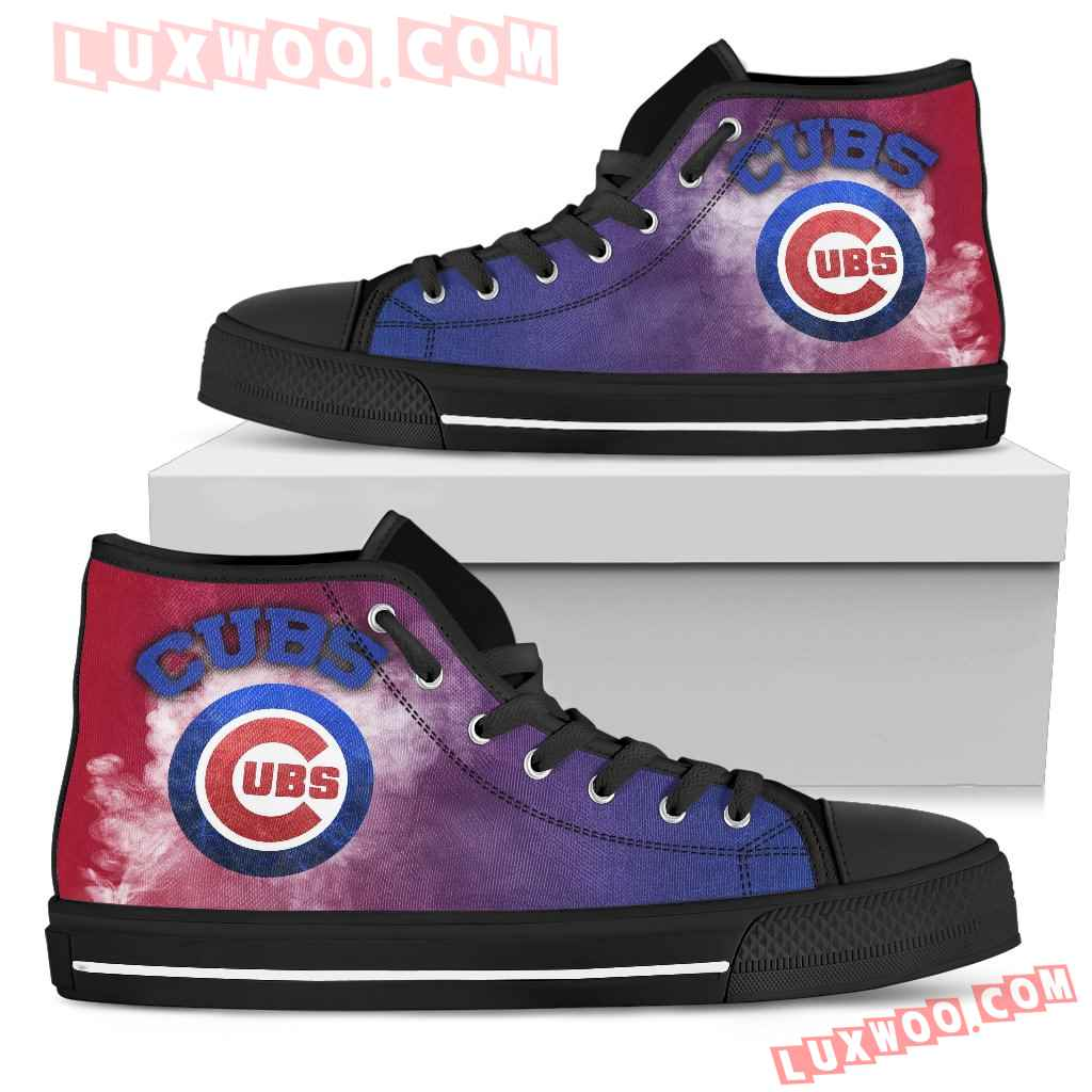 White Smoke Vintage Chicago Cubs High Top Shoes