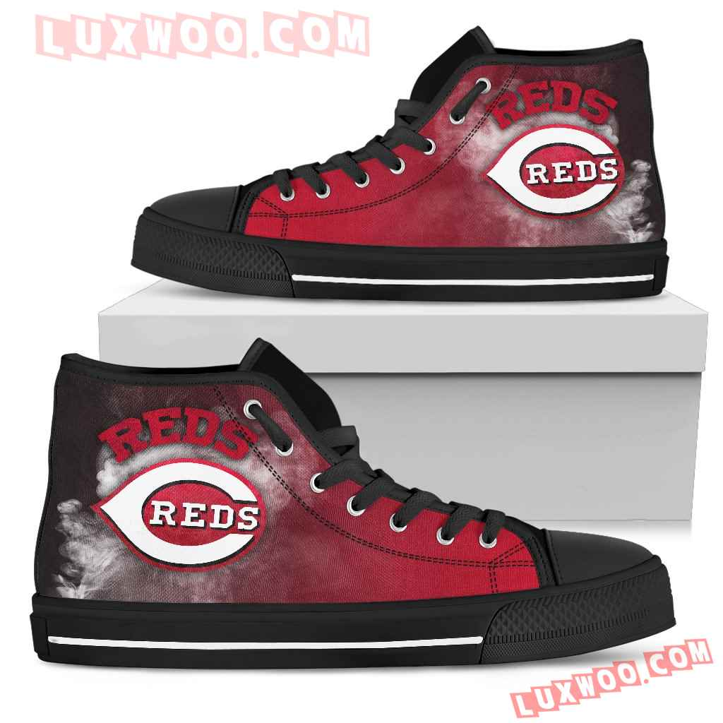 White Smoke Vintage Cincinnati Reds High Top Shoes