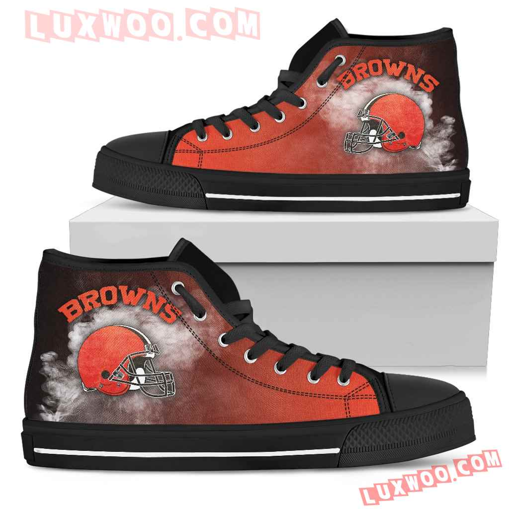 White Smoke Vintage Cleveland Browns High Top Shoes