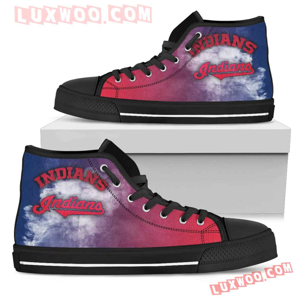 White Smoke Vintage Cleveland Indians High Top Shoes