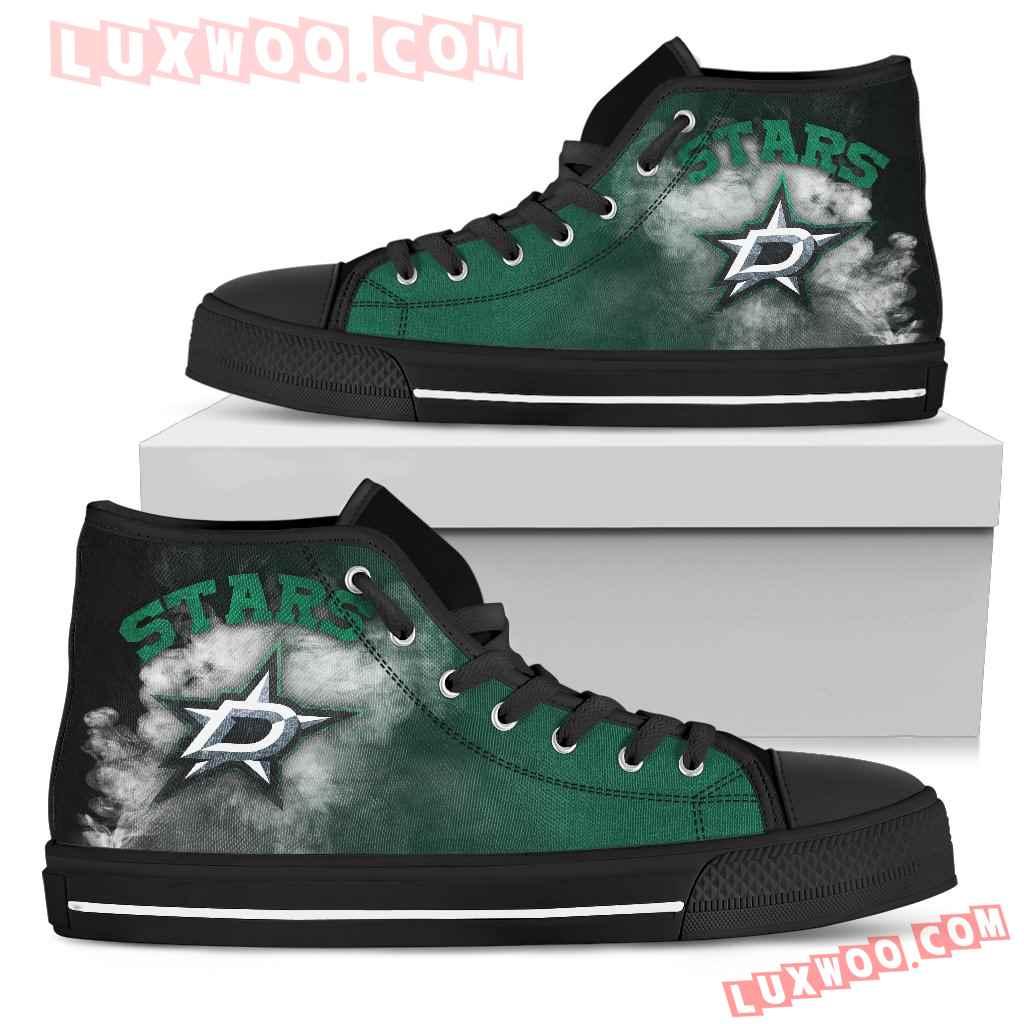 White Smoke Vintage Dallas Stars High Top Shoes