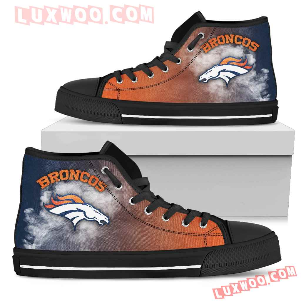 White Smoke Vintage Denver Broncos High Top Shoes