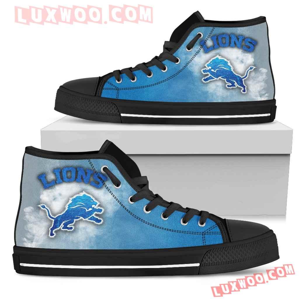 White Smoke Vintage Detroit Lions High Top Shoes
