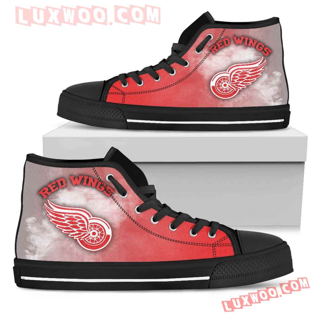 White Smoke Vintage Detroit Red Wings High Top Shoes
