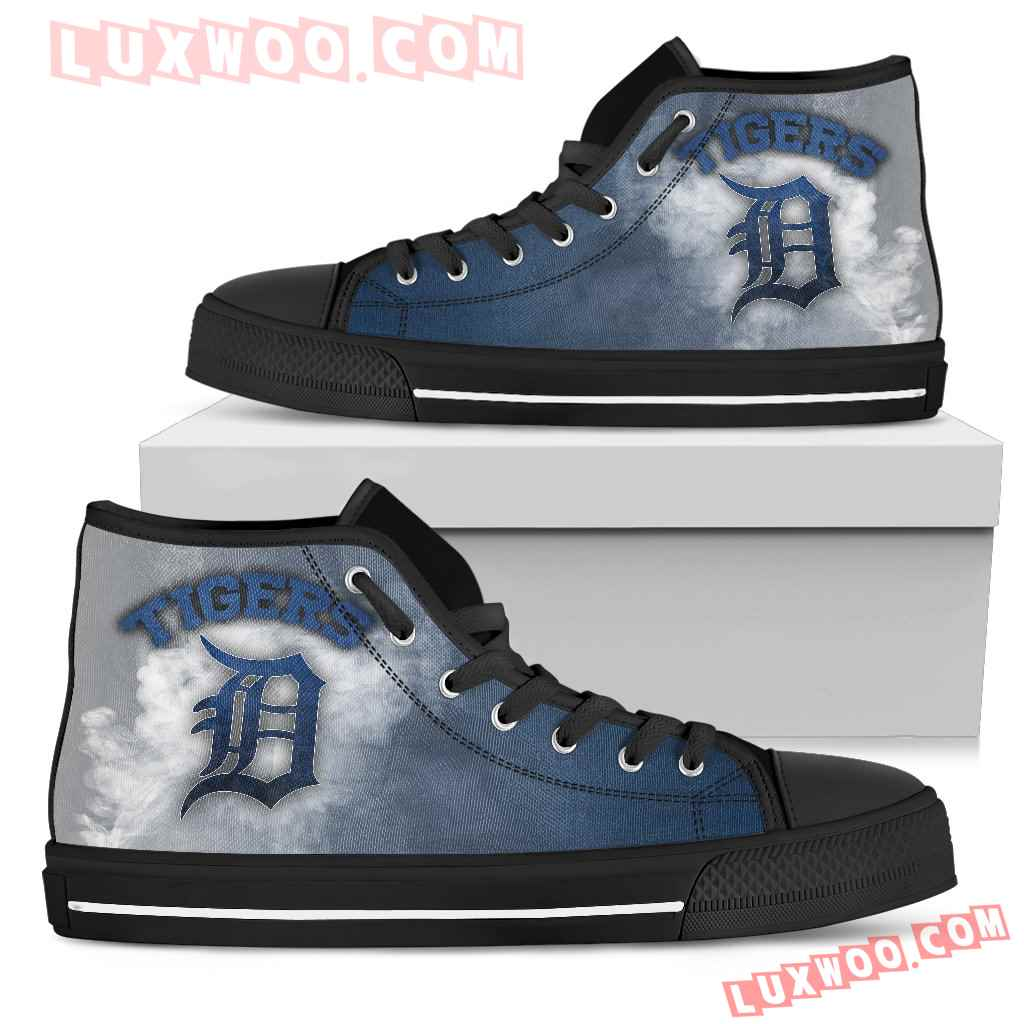 White Smoke Vintage Detroit Tigers High Top Shoes