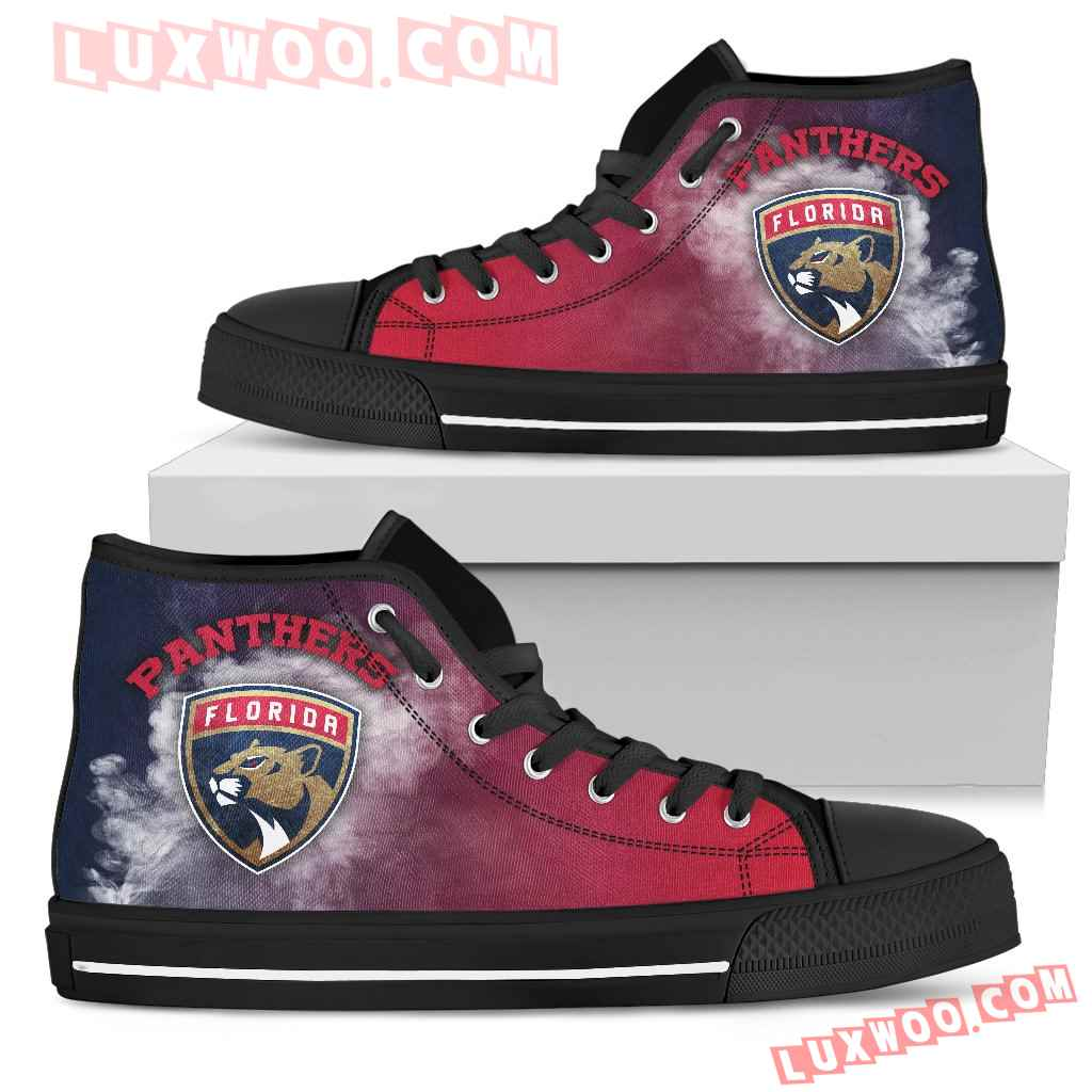 White Smoke Vintage Florida Panthers High Top Shoes