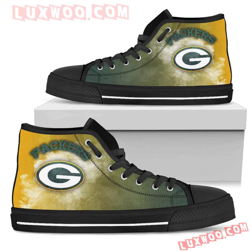 White Smoke Vintage Green Bay Packers High Top Shoes